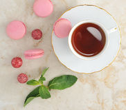 Colorful macaron with a cup of tea Stock Image