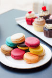 Colorful macaron and cupcake Royalty Free Stock Images