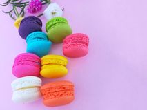 Colorful macaron, delicious macaroon, arrange beautiful royalty free stock images