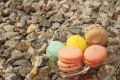 Colorful of macaron on a glass plate Royalty Free Stock Images