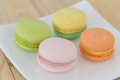 Colorful macaron , macaroon on wooden background. Colorful macaroon , macaron on wooden background stock photo