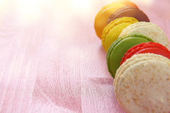 colorful macaron on pink background. Royalty Free Stock Photo