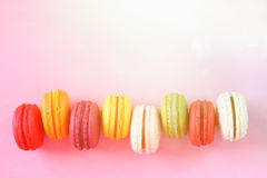 colorful macaron on pink background. Royalty Free Stock Image