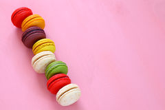 colorful macaron on pink background. Stock Photography