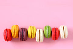 Colorful macaron on pink background. Royalty Free Stock Photography