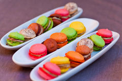 Colorful macaron on the plate Royalty Free Stock Photography