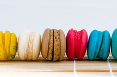 Colorful macarons. On a bamboo mat Royalty Free Stock Photography