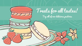 Colorful macarons banner Stock Photography