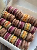 Colorful macarons in a box .. Top view. Homemade. stock photography