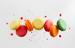 Colorful macarons cakes. Small French cakes Royalty Free Stock Photo
