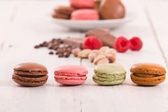 Colorful macarons. Colorful macarons on white dish Stock Photography