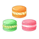 Colorful macarons dessert. Vector illustration. Colorful macarons dessert. Vector illustration  on white background Royalty Free Stock Images