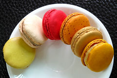 Colorful Macarons in the dish Stock Photography