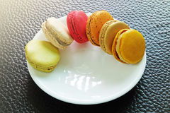 Colorful Macarons in the dish Royalty Free Stock Images