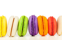 Colorful macarons isolated on white background Stock Photos