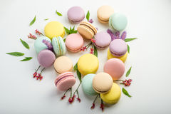 Colorful macarons with leaves and red flowers on a white background. French delicate dessert. Beautiful composition Stock Photos