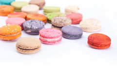 Colorful Macarons. Macarons with many colors like red, brown, purple, orange, white and green stock photography