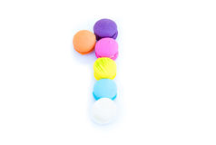 Colorful macarons,number 1 on white background.  Stock Images