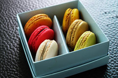 Colorful Macarons In The Paper Box Stock Images
