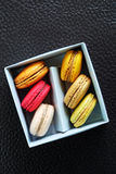 Colorful Macarons In The Paper Box Stock Photos