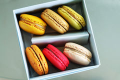 Colorful Macarons In The Paper Box Stock Photo