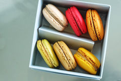Colorful Macarons In The Paper Box Royalty Free Stock Photography