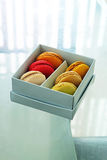 Colorful Macarons In The Paper Box Stock Image