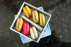 Colorful Macarons In The Paper Box Royalty Free Stock Photo