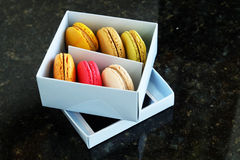 Colorful Macarons In The Paper Box Stock Photography