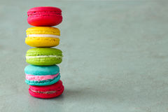 Colorful macarons set on table, traditional french colorful macarons ,Sweet macarons Royalty Free Stock Photo