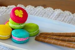 Colorful macarons set on table, traditional french colorful macarons ,Sweet macarons Stock Photography