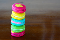 Colorful macarons set on table, traditional french colorful macarons ,Sweet macarons Royalty Free Stock Images