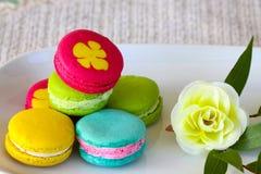 Colorful macarons set on table, traditional french colorful macarons ,Sweet macarons Royalty Free Stock Image