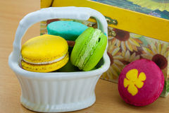 Colorful macarons set on table, traditional french colorful macarons ,Sweet macarons Stock Images