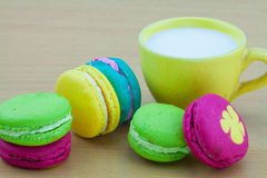 Colorful macarons set on table, traditional french colorful macarons ,Sweet macarons Royalty Free Stock Photography