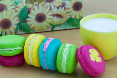 Colorful macarons set on table, traditional french colorful macarons ,Sweet macarons Stock Photography