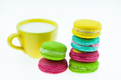 Colorful macarons set on table, traditional french colorful macarons ,Sweet macarons Stock Image