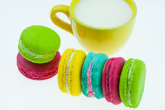 Colorful macarons set on table, traditional french colorful macarons ,Sweet macarons Royalty Free Stock Photos