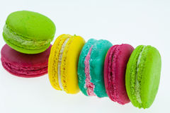 Colorful macarons set on table, traditional french colorful macarons ,Sweet macarons Stock Photos
