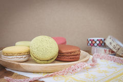 Colorful macarons in vintage tone Stock Photography