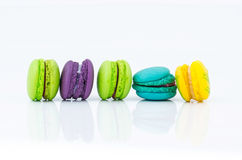 Colorful Macarons. On white background Stock Image