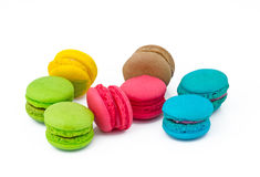 Colorful Macarons. On white background Royalty Free Stock Photo