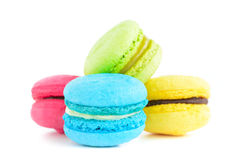 Colorful macarons on white background Royalty Free Stock Photography