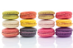 Colorful macarons on white background Macaron is sweet Royalty Free Stock Photography