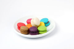 Colorful macarons. On wooden background Stock Image