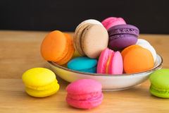 Colorful macaroon in ceramic plate Royalty Free Stock Photos