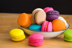 Colorful macaroon in ceramic plate Royalty Free Stock Photo