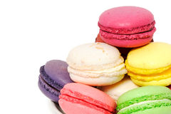 Colorful macaroon cookies. An assortment of colorful macaroon cookies on a plate Royalty Free Stock Image