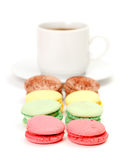 Colorful Macaroon and cup of coffee Royalty Free Stock Photo