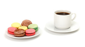 Colorful Macaroon and cup of coffee Royalty Free Stock Images